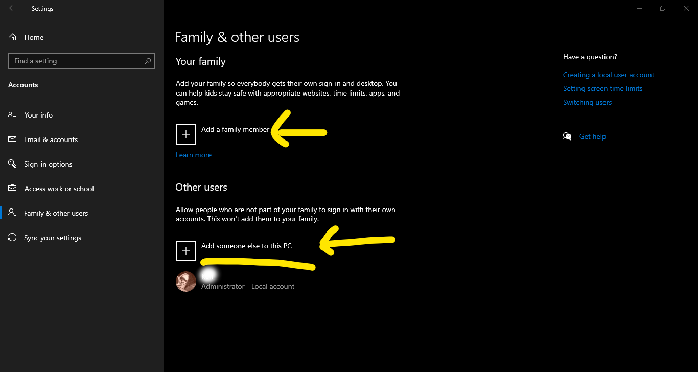 Choose Your family or Other users