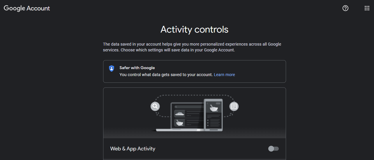 Google Activity controls, how to keep from being tracked online