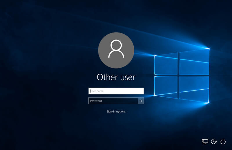 Windows 10 logon screen